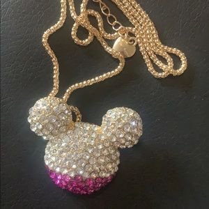 Betsey Johnson Rhinestone Mickey Mouse Necklace